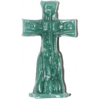 "4 1-2"" Crucifix Green Candle"