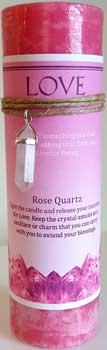 Love Jumbo Candle With Rose Quartz Pendant