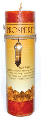 Prosperity Jumbo Candle With Tiger Eye Pendant