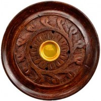 "3 3-4"" Wood Carved Stick- Cone Burner"
