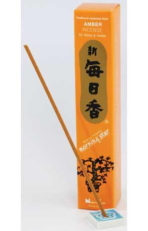 Amber Morning Star Stick Incense & Holder 50 Pack