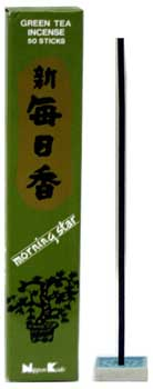 Green Tea Morning Star Stick Incense & Holder 50 Pack
