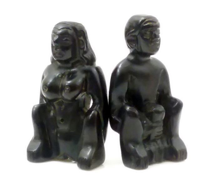 LP Noi : sacred wood Mae Per + Phor Per statues - THAI VOODOO for love & money luck